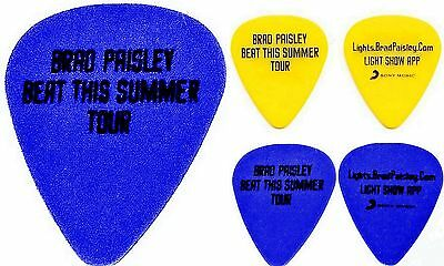 BRAD PAISLEY Guitar Picks  1 YELLOW 1 BLUE   AUTHENTIC from 2013 Concert Tour