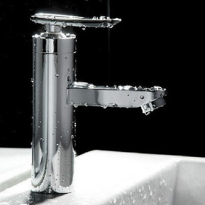 Brushed Chrome Waterfall Bathroom Basin Faucet Single Handle Sink Mixer Tap DO F