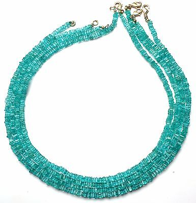 """Natural Gemstone Apatite 4Mm Square Heishi Beads 16"""" Finished Necklace"""