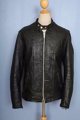 Vtg SCHOTT Black CAFE RACER Leather Motorcycle Jacket Size Medium