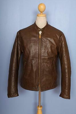 Vtg 60s CAFE RACER Leather Motorcycle Jacket Size Medium