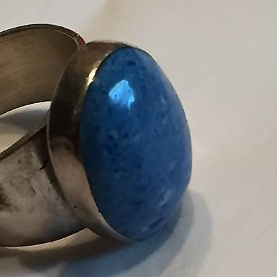 """Vtg Mexican Sterling Silver & Blue Lapis Domed Modern Style 5/8""""x1/2""""oval 14 Gra"""