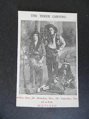 Antique Tansan Water Advertising Card The Three Carsons Cowboy Western Act