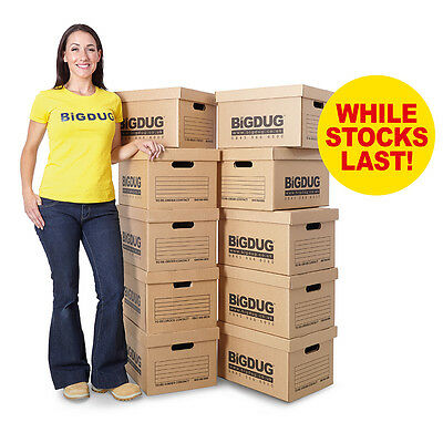 Pack of 10 Cardboard Document/File Archive Storage Boxes