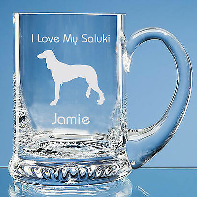 Saluki Dog Lover Gift Personalised Engraved Handmade Glass Tankard