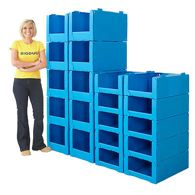 Pack Of 10 Pick Bins Storage Stackable Plastic Container Boxes 2 Sizes BiGDUG