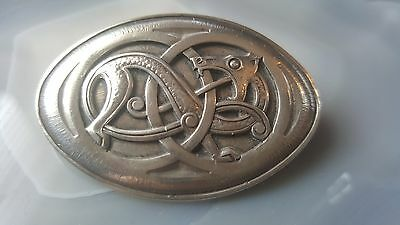 Continental Silver Celtic Brooch Celtic Dragon By J Tostrup Denmark