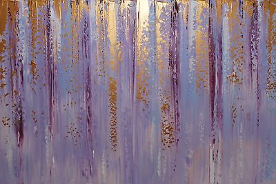 ORIGINAL ABSTRACT CONTEMPORARY MODERN LILAC KNIFE PAINTING 36x24inch box canvas