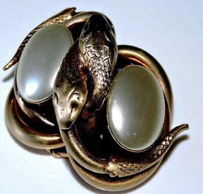Victorian Revival Brooch Pinchbeck Serpents Snakes Coiled Faux Mabe Pearls Knot
