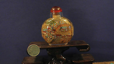 Large Antique Hand Painted Glass Snuff Bottle