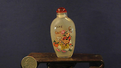Antique Hand Painted Glass Snuff Bottle-