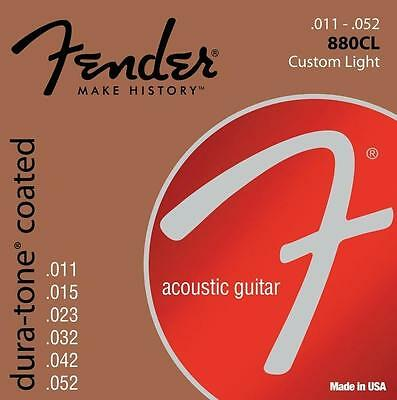 Fender 880CL Dura-Tone Coated 80/20 Bronze Strings 11-52 P/N 0730880003