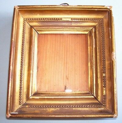 Antique Georgian Miniature Gilt Shabby Chic Picture Frame Old Glass C.1820