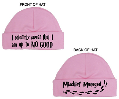 HARRY POTTER New Pink/Blue Round Baby Hat I SOLEMNLY SWEAR, Newborn/0-3M, Gift
