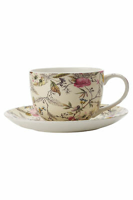 NEW Maxwell & Williams William Kilburn Coupe Cup & Saucer 250ml Summer Blossom