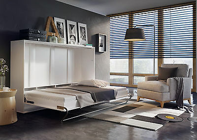 Modern Horizontal Wall Hidden Fold Away Pull Out Murphy Bed 3 Sizes White Matt