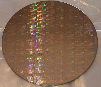 """Very Rare  300mm (12"""") IC Microchip Silicon Pattern Wafer with Copper Technology"""