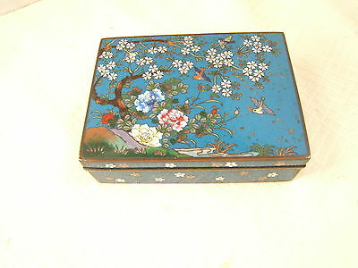 Japanese Cloisonne Box Birds & Floral Exc Quality With Goldstone
