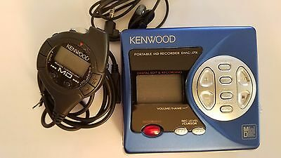 BLUE Kenwood DMC-7JR MiniDisc Recorder (made in Japan) With Microphone!