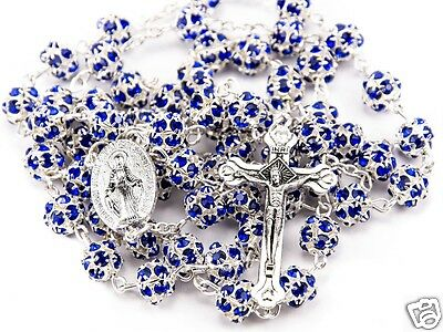 Blue Crystal Zircons Beads Rosary Catholic Necklace Miraculous Medal & Cross