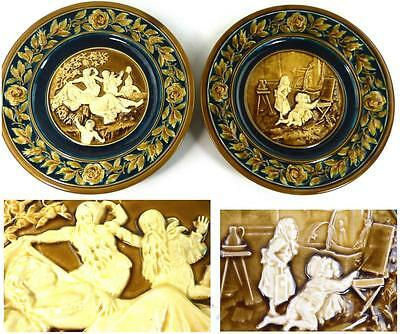 Two Antique Austrian Schutz Blansko Pottery Majolica Chargers Plates