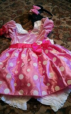 Disney Store Minnie Mouse Girl Costume Pink Polka Dot 5t Dress Up Halloween new