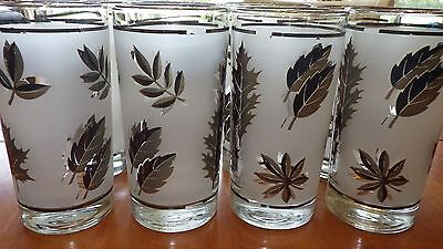 Libbey Silver Leaf TUMBLERS DRINKING GLASSES 8 12 ounce flat bottom glaases