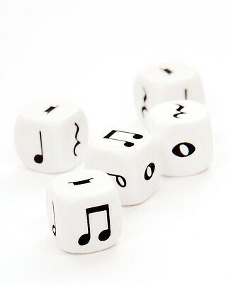 Music Dice Set of 5 Six Sided - Music Symbols - Various Games