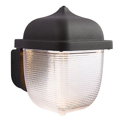 Saxby 70191 HEATH Square Black/Frosted Single 7W LED Outdoor Wall IP44 Light