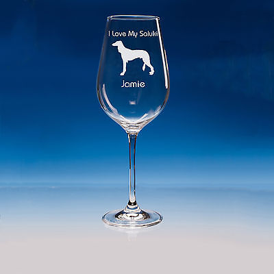 Saluki Dog Lover Gift Personalised Hand Engraved Fine Quality Wine Glass