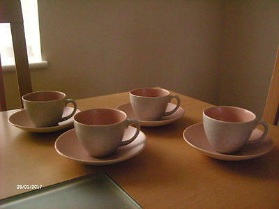 X4 Poole Pottery Twin Tone Tea/Coffee Cups & Saucers. Pink + Seagull.