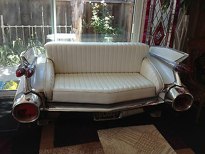 1959 Real White Cadillac Rear End Car Couch Sofa Love Seat White Leather