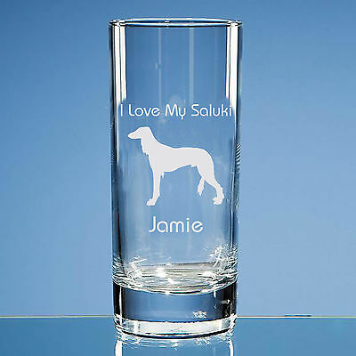 Saluki Dog Lover Gift Personalised Hand Engraved Quality Highball Glass