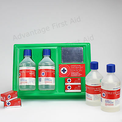 500ml Bottle Eye & Wound Wash First Aid Station. Complete Item or Refills.