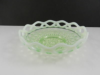 "Imperial Glass Laced Edge Shallow Nappy Sea Foam Green Opalescent 6 1/4"" D c1930"