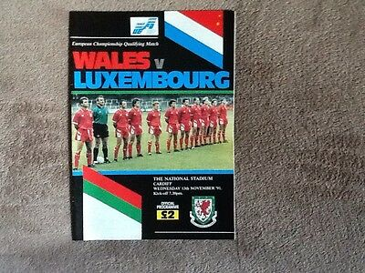 Wales v Luxembourg programme 1991