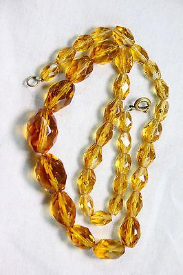 Beautiful vintage Art Deco amber/topaz coloured facet glass beads- Lovely tone