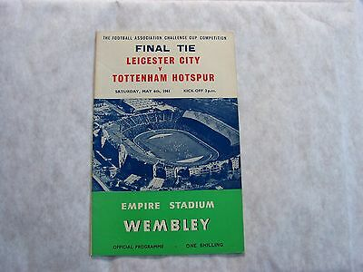 Leicester City v Tottenham 1961 FA Cup Final Programme. VGC 10 pics to show cond