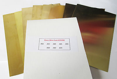 """Brass Shim Assortment Pack Approx. 6"""" x 4"""" sheets Model engineering/classic car"""
