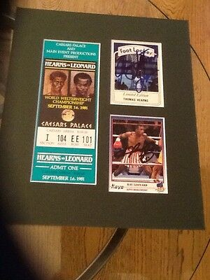 sugar ray leonard v tommy hearns ticket and signed cards