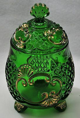 Antique Eapg Riverside Croesus Green Glass Covered Sugar Bowl