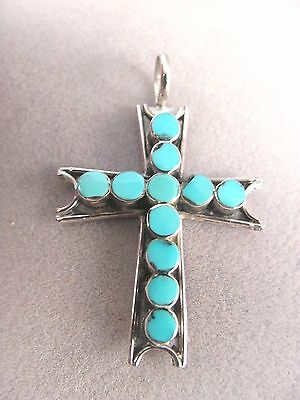 Zuni Turquoise and Sterling Silver Cross Pendant by Vincent Abeita