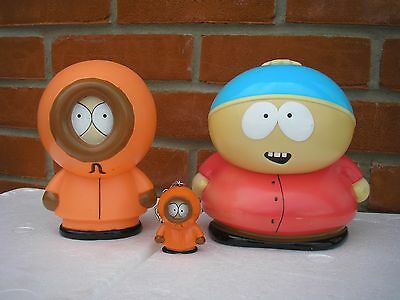 VINTAGE SOUTH PARK 1998 Key Ring(KENNY)  and 2 Money Boxes (Eric & Kenny)