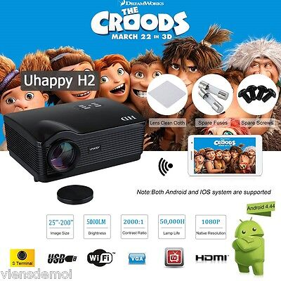 LED HD 5000 Lumens WIFI Android Proiettore 3D Videoproiettore Home Cinema ZOOM