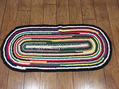 "VTG Braided Rag Rug Oval 21"" X 46"" Bright Multi Colors Farmhouse Cottage Country"