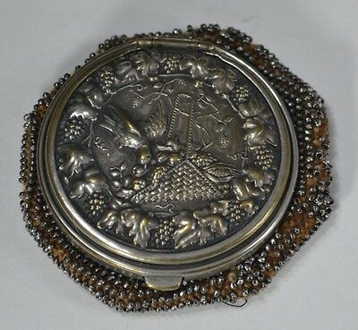 coin change purse silver beaded round Victorian Edwardian antique original