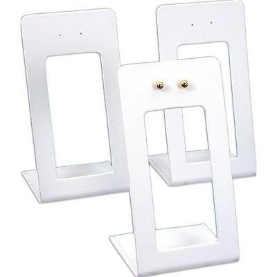 """3 White Faux Leather Earring Display Stands 2 3/8"""""""