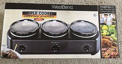 Westbend Triple Cooker Serving Station Slow Cooker Warming Tray