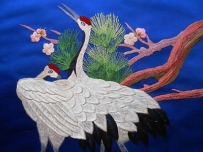 Vintage Chinese Silk Embroidery Panel, Red-Crowned Crane, Blossoms, Pines, Asian