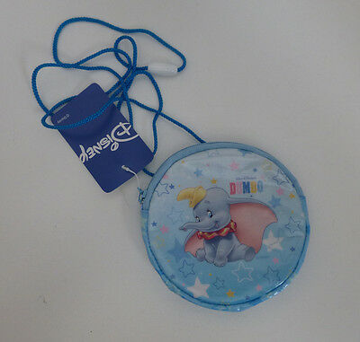 Japan Disney Dumbo Sitting Stars Round Coin Purse with Strap